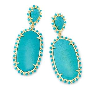 Kendra Scott Parsons Stmt Earrings Gold/Turquoise